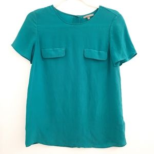 Uterque Teal Silk Top Suze size Small